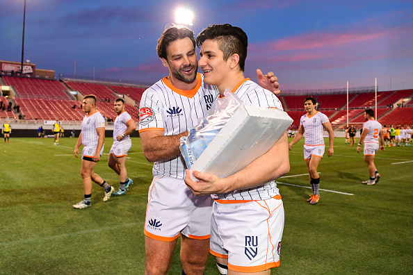 Rugby United New York's Benjamin Foden and Julio Cesar together after deafeating the Austin Gilgronis at Sam Boyd Stadium
