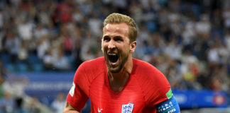 Harry Kane celebrates his second goal for England