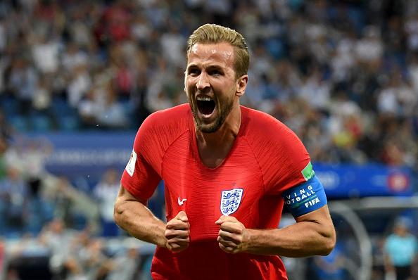 Harry Kane celebrates his second goal for England