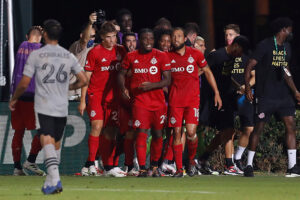 Ayo Akinola after scoring his hat-trick against the Montreal Impact in the MLS is Back Tournamnet