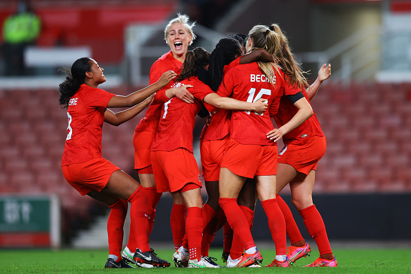 CANWNT celebrates as Nichelle Prince scores Canada's second goal on April 13