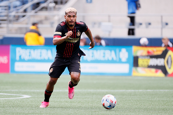 Atlanta United FC player Josef Martinez controls the ball in Seattle