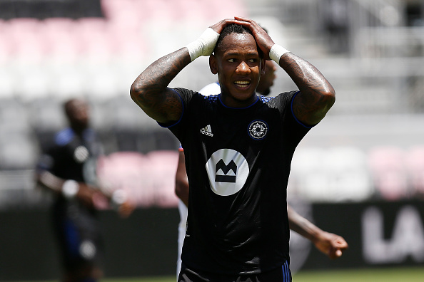 CF Montréal player Romell Quioto reacts to missing a shot in the first half