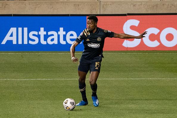 Corey Burke dribbles the ball at Subaru Park against Atlanta United FC