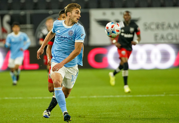 New York City FC player James Sands playing against D.C. United on April 17, 2021