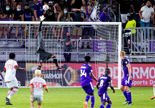 Orlando City SC goalkeeper Pedro Gallese makes a late save in the second half