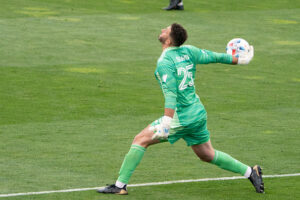Toronto FC goalkeeper Alex Bono thows the ball in Columbus, Ohio