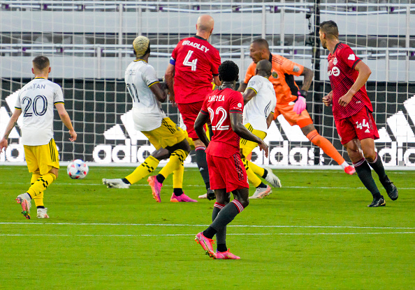Toronto FC's Michael Bradley scored the first goal of the game against their Trillium Cup rivals