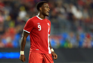 CanMNT player Cyle Larin playing in an International Friendly against Jamaica in Toronto