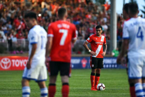 Cavalry FC midfielder José Escalante prepares for a free kick in the 2019 Canadian Championship semifinal against the Montreal Impact
