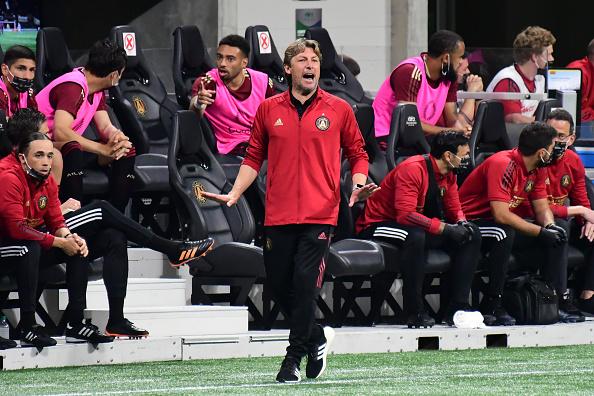 Atlanta United coach Gabriel Heinze watches his team against the Philadelphia Union at Mercedes-Benz Stadium