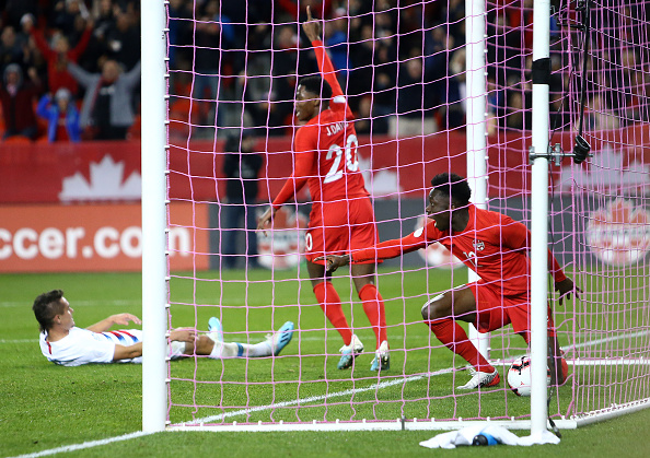 CanMNT Alphonso Davies celebrates a goal in the Concacaf Nations League at BMO Field