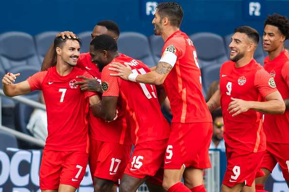 CanMNT player Stephen Eustáquio celebrates his early goal with his teammates on July 15, 2021