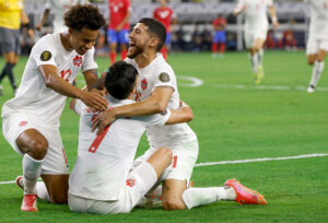 CanMNT celebrates Stephen Eustaquio's goal in the 2021 Concacaf Gold Cup