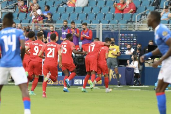 CanMNT player Stephen Eustáquio scores an early goal against Haiti