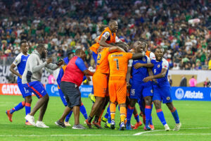 Haiti players celebrates advancing to the 2019 Concacaf Gold Cup Semi-finals