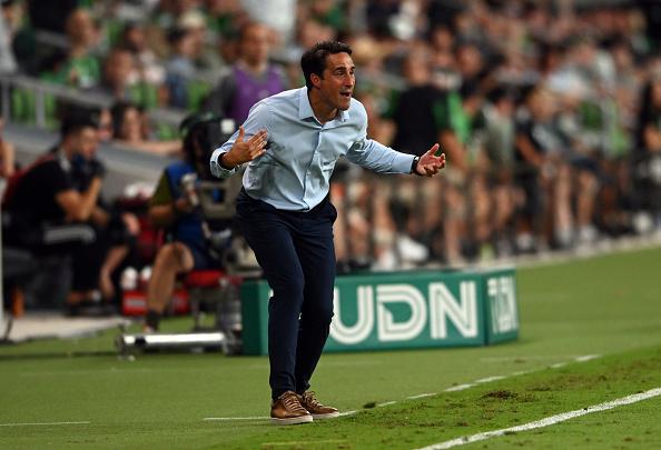 Austin FC head coach Josh Wolff yells in frustration on June 16, 2021