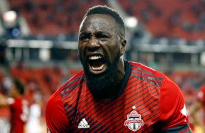 Toronto FC player Jozy Altidore celebrates his goal against Orlando City SC
