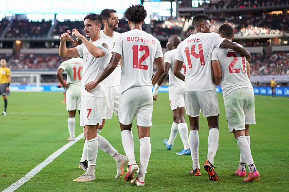 CanMNT player Stephen Eustáquio celebrates his goal with teammates and fans against Costa Rica