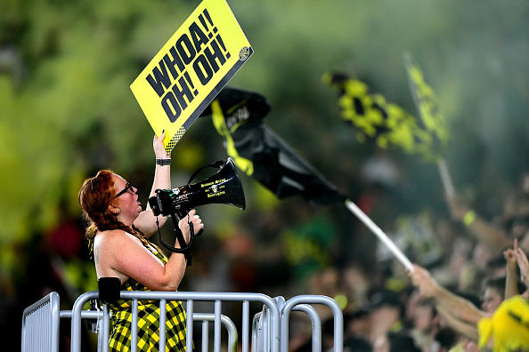 Columbus Crew SC fans cheer during the second half of the game