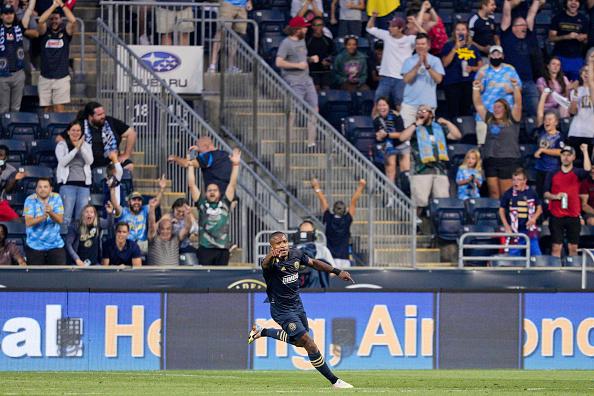 Philadelphia Union player Sergio Santos celebrates his goal at Subaru Park