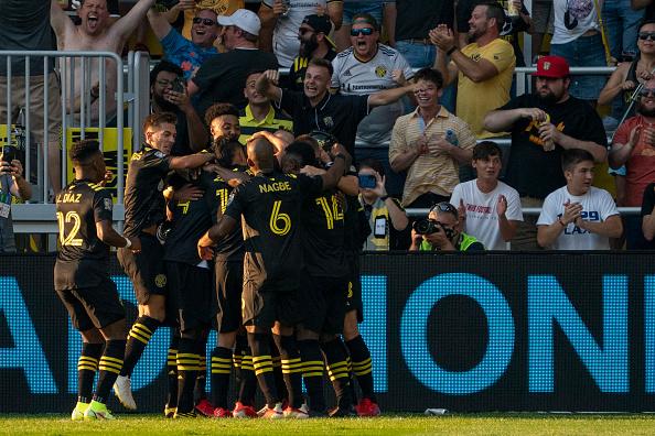 The Columbus Crew celebrates goal in Columbus, Ohio
