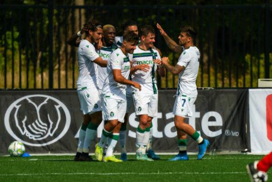 York United FC players celebrates Max Ferrari's goal against Master's Futbol Academy