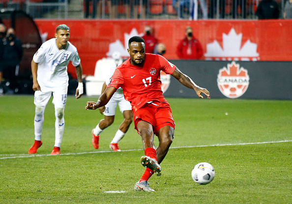 CanMNT player Cyle Larin scores a penalty at BMO Field