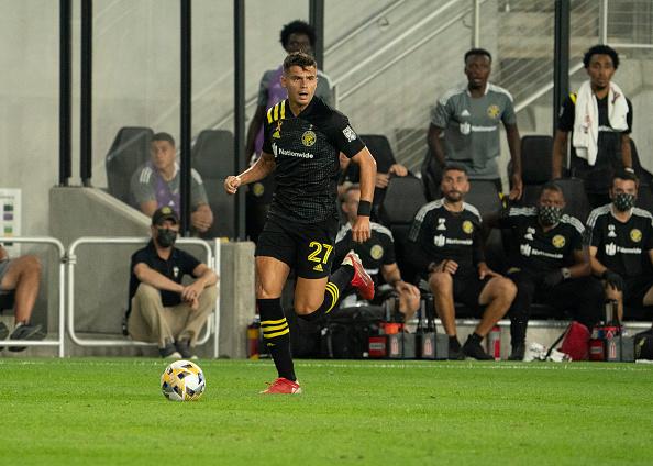 Columbus Crew SC player Miguel Berry controls the ball in Columbus, Ohio