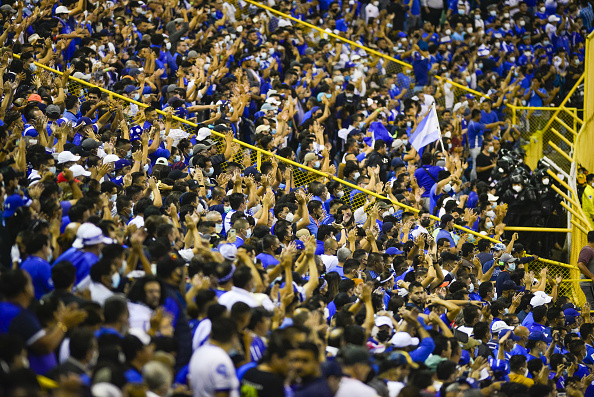 El Savador fans attend the game at Estadio Cuscatlán on August 2