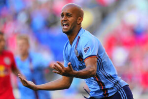 New York City FC player Héber celebrates scoring the first goal of the match at Red Bull Arena
