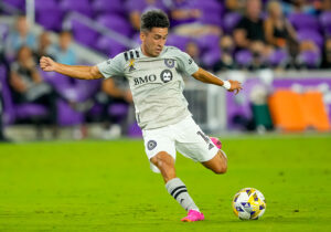 CF Montreal midfielder Joaquin Torres shoots the ball in Orlando, Florida