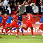 CanMNT celebrates Alphonso Davies goal against Panama