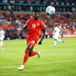 CanMNT player Alphonso Davies chases the ball at BMO Field