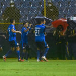 El Salvador player Enrico Duenas celebrates with teammates with goal at Cuscatlan Stadium