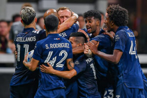 NYCFC defender Gudmundur Thórarinsson is surrounded by teammates after scoring in Atlanta, Georgia
