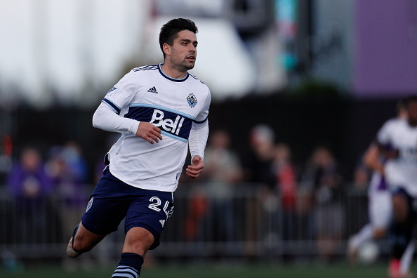 Vancouver Whitecaps FC player Brian White playing in the Canadian Championship