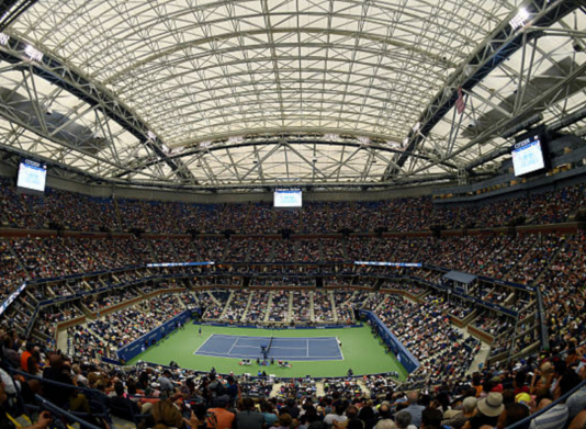 Indoor view focusing on Arthur Ashe Stadium US Open qualifying