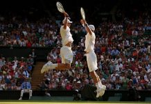 Bryan Brothers chest bump Wimbledon 2013