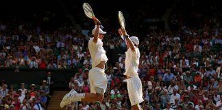 Bryan Brothers chest bump Wimbledon 2013