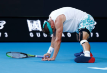 Tennys Sandgren in defeat at the Australian Open