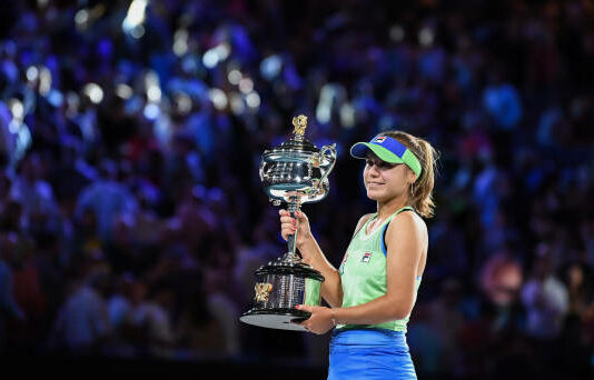 Sofia Kenin with 2020 Australian Open Trophy