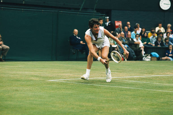 Margaret Court in action at 1973 Wimbledon Championships