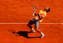 Rafael Nadal in action at the Monte Carlo Masters in 2012