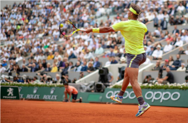 Rafael Nadal in action at Roland Garros