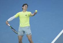 Milos Raonic in action at the Australian Open