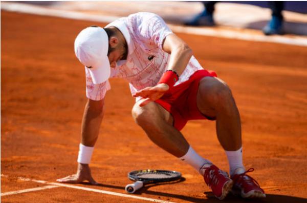 Novak Djokovic in action during the Adria Tour