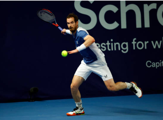 Andy Murray in action during the Battle of the Brits