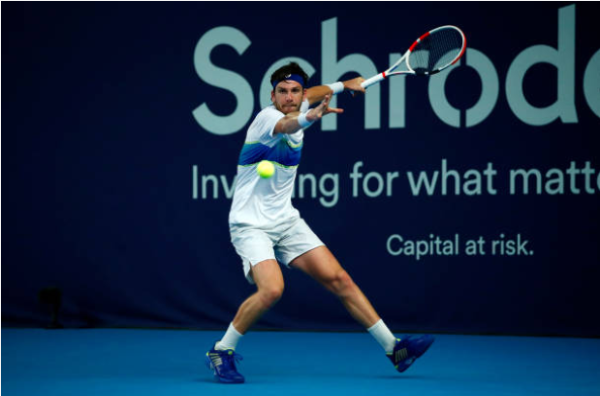 Cameron Norrie in action during the Battle of the Brits