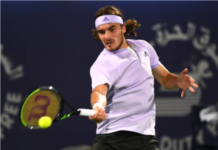Stefanos Tsitsipas in action at the Ultimate Tennis Showdown